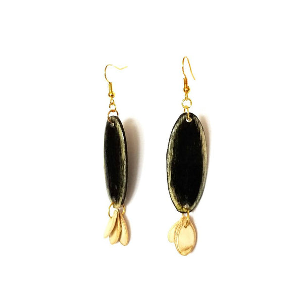 Black Wood and Seed Earrings - Earrings - 7