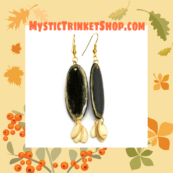 Black Wood and Seed Earrings - Earrings - 8