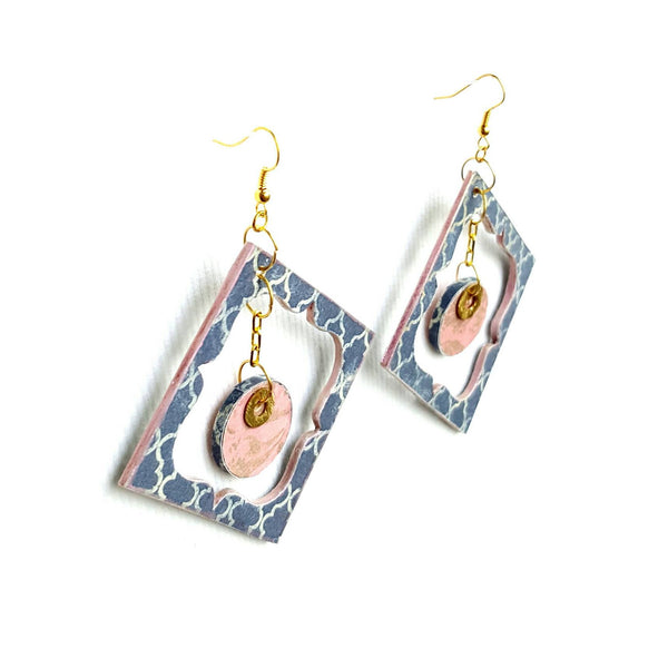 Blue and Pink Wood Garden Earrings - Earrings - 3