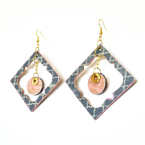 Blue and Pink Wood Garden Earrings - Earrings - 4
