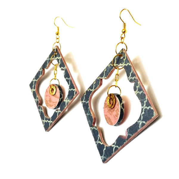 Blue and Pink Wood Garden Earrings - Earrings - 5