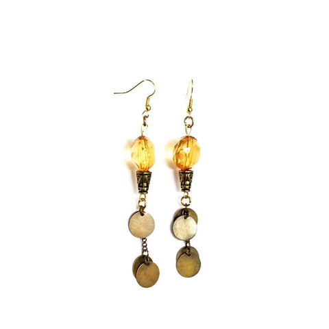 Copper Disc and Amber Shoulder Duster Earrings - Earrings - 1