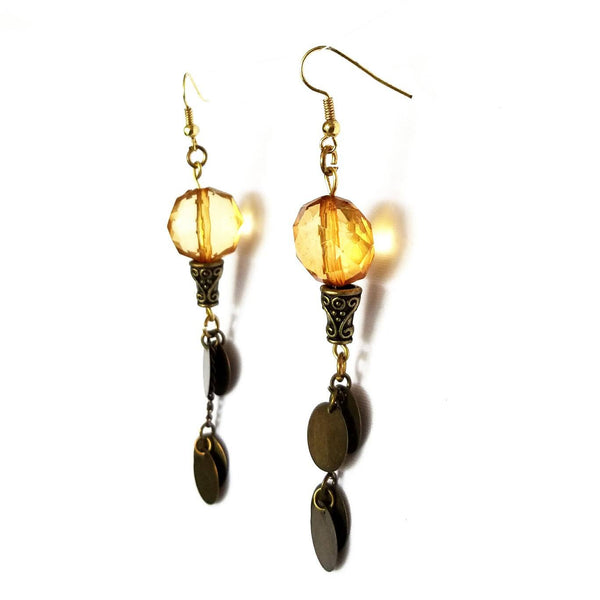 Copper Disc and Amber Shoulder Duster Earrings - Earrings - 2