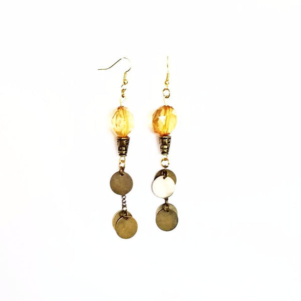 Copper Disc and Amber Shoulder Duster Earrings - Earrings - 3