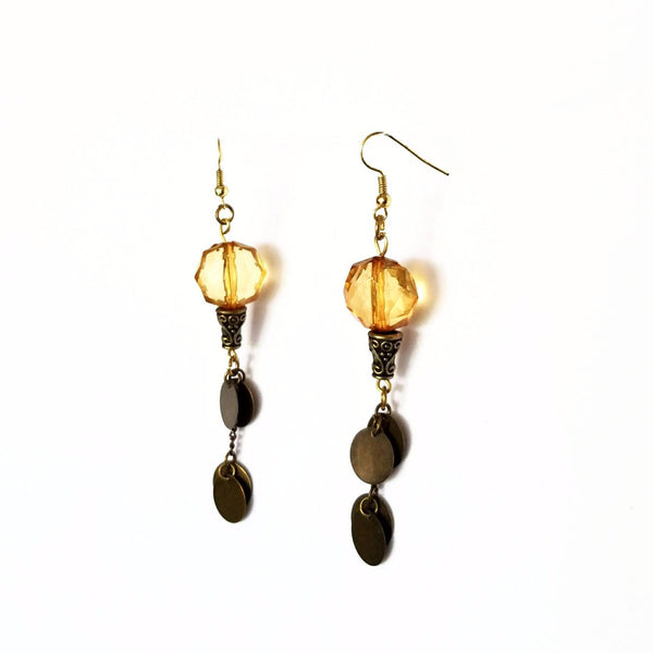 Copper Disc and Amber Shoulder Duster Earrings - Earrings - 4