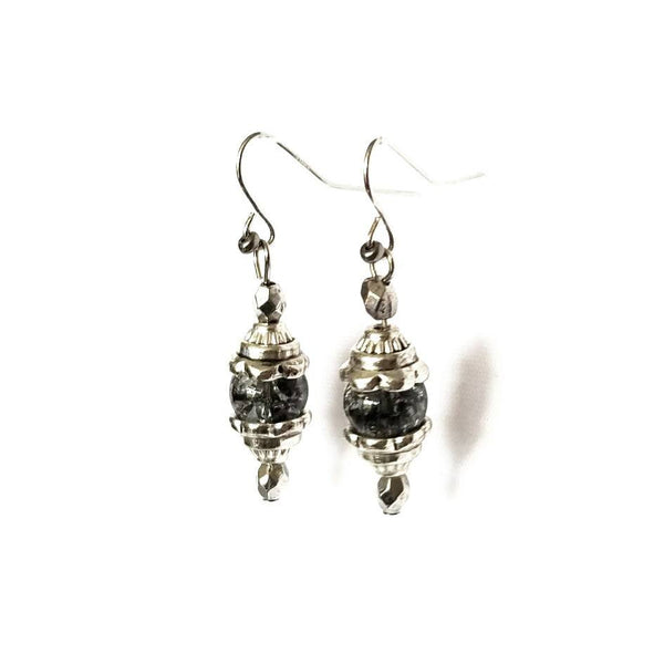Cracked Glass Silver Dangle Earrings - Earrings - 3