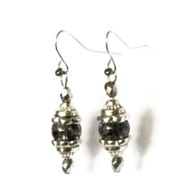 Cracked Glass Silver Dangle Earrings - Earrings - 4