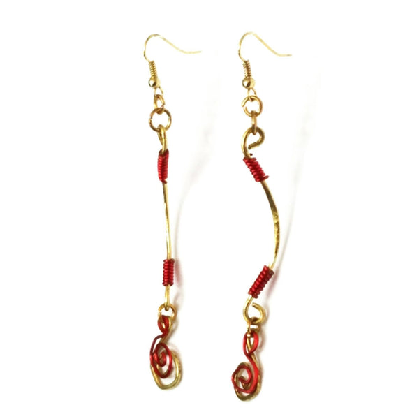 Dangle Earrings-Gold and Red Spiral - Gukumatz Earrings by Mystic Trinket Shop - Earrings - 1