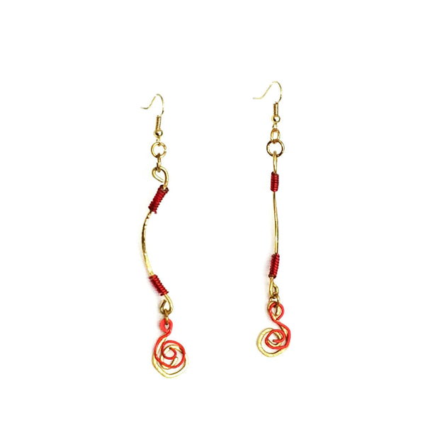 Dangle Earrings-Gold and Red Spiral - Gukumatz Earrings by Mystic Trinket Shop - Earrings - 3