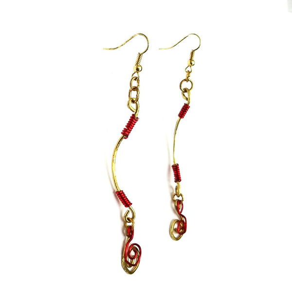 Dangle Earrings-Gold and Red Spiral - Gukumatz Earrings by Mystic Trinket Shop - Earrings - 2
