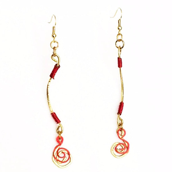Dangle Earrings-Gold and Red Spiral - Gukumatz Earrings by Mystic Trinket Shop - Earrings - 4