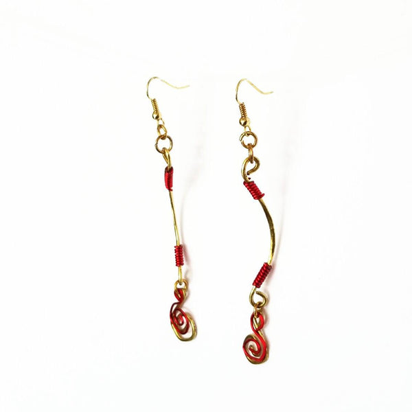Dangle Earrings-Gold and Red Spiral - Gukumatz Earrings by Mystic Trinket Shop - Earrings - 5