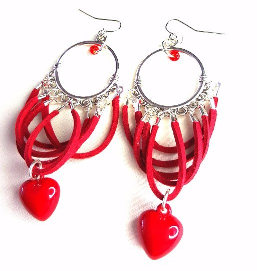 Donate American Heart Association - Silver Chandelier Earrings with Red Suede and Heart Charm - Earrings - 1