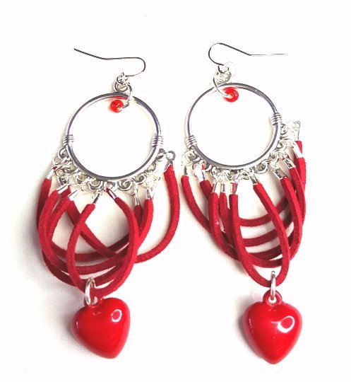 Donate American Heart Association - Silver Chandelier Earrings with Red Suede and Heart Charm - Earrings - 2