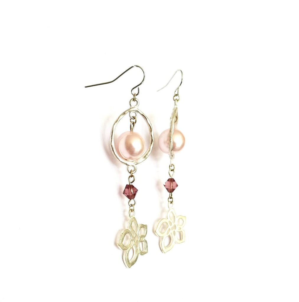 Donate to the NOW Organization -Pink & Silver Flower Earrings | MysticTrinketShop.com - Earrings - 1