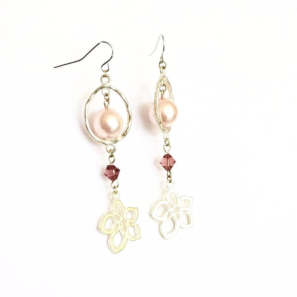 Donate to the NOW Organization -Pink & Silver Flower Earrings | MysticTrinketShop.com - Earrings - 2