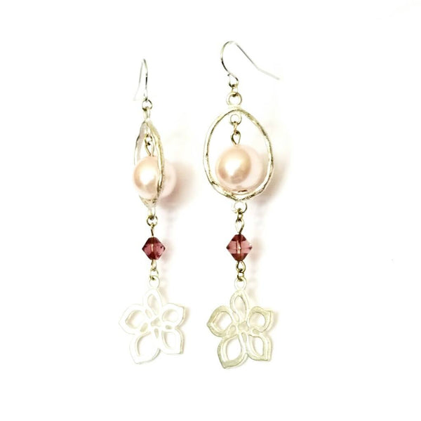 Donate to the NOW Organization -Pink & Silver Flower Earrings | MysticTrinketShop.com - Earrings - 3