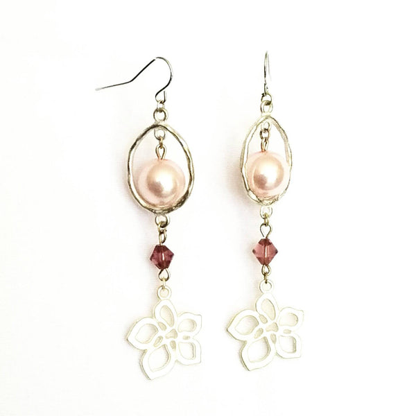Donate to the NOW Organization -Pink & Silver Flower Earrings | MysticTrinketShop.com - Earrings - 4