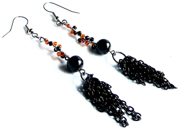 Earrings - Black and Orange Handmade Earrings - Black Cat Halloween Earrings - Earrings - 1