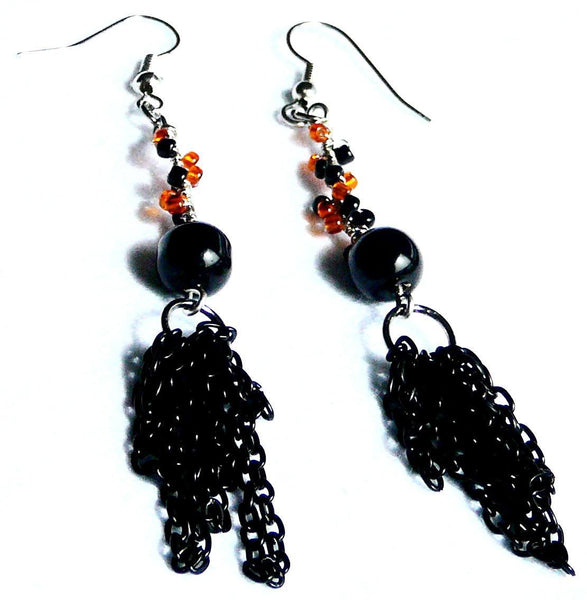 Earrings - Black and Orange Handmade Earrings - Black Cat Halloween Earrings - Earrings - 2