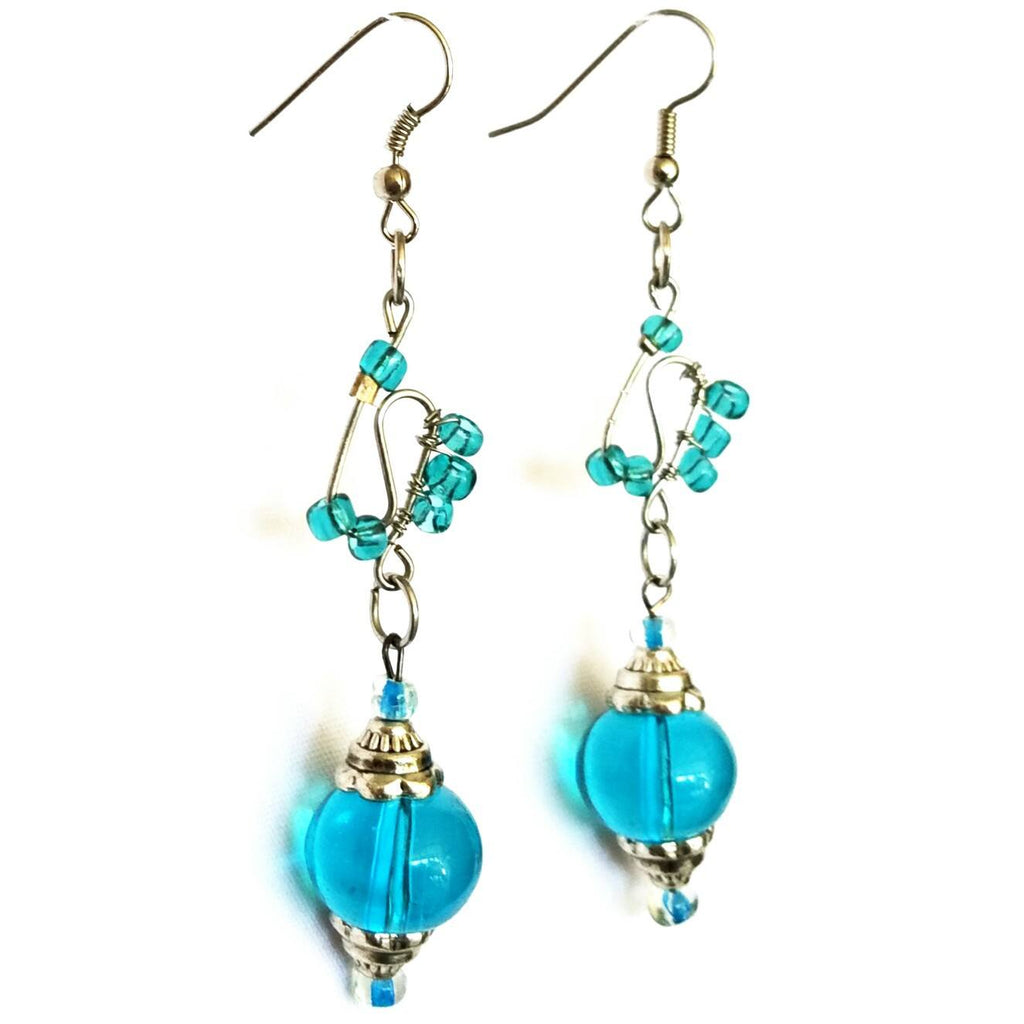 Earrings - Blue Glass Beaded  Silver Wire Handmade Earrings | MysticTrinketShop.com - Earrings - 1