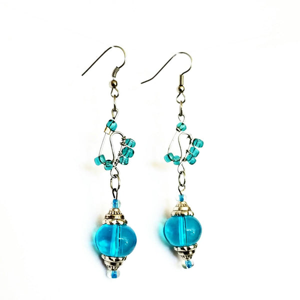Earrings - Blue Glass Beaded  Silver Wire Handmade Earrings | MysticTrinketShop.com - Earrings - 2