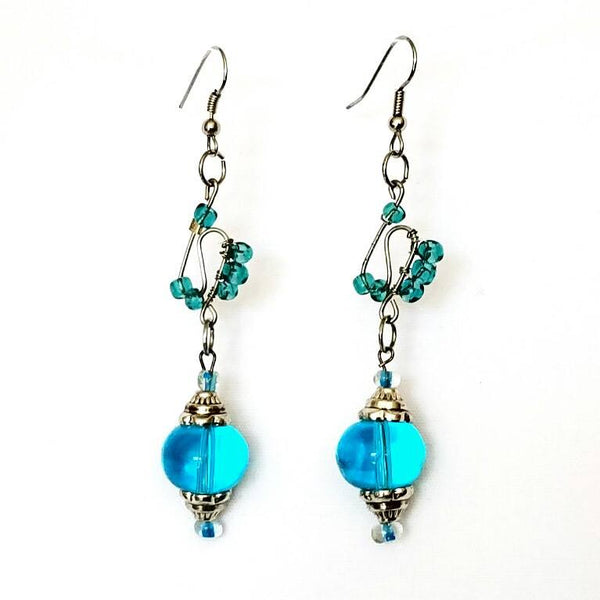 Earrings - Blue Glass Beaded  Silver Wire Handmade Earrings | MysticTrinketShop.com - Earrings - 3