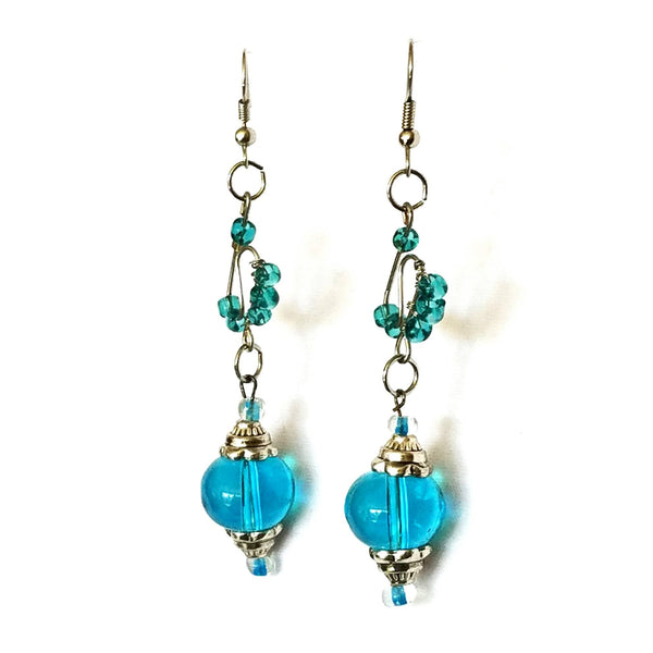 Earrings - Blue Glass Beaded  Silver Wire Handmade Earrings | MysticTrinketShop.com - Earrings - 4