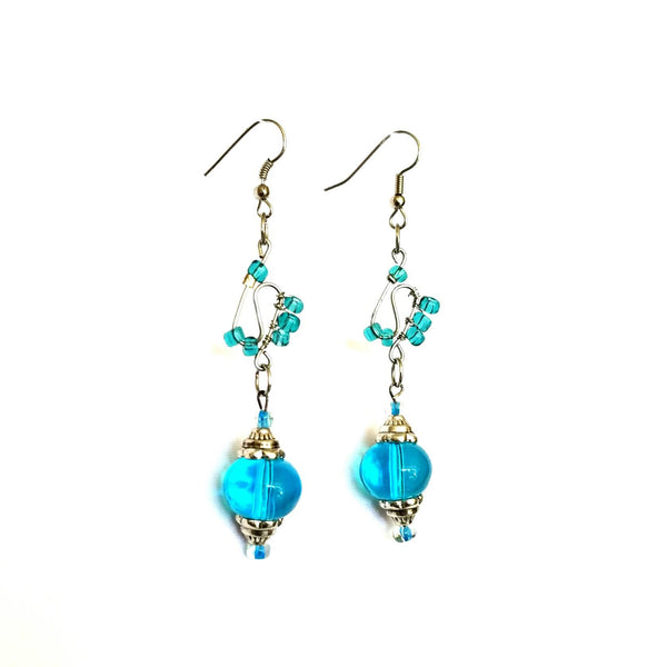 Earrings - Blue Glass Beaded  Silver Wire Handmade Earrings | MysticTrinketShop.com - Earrings - 5