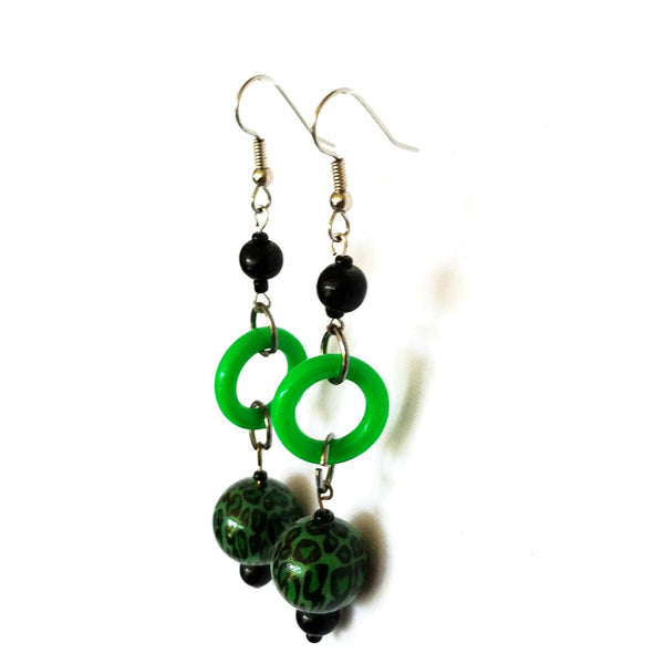 Earrings - Bold Dangle Earrings in Green and Black | MysticTrinketShop.com - Earrings - 1
