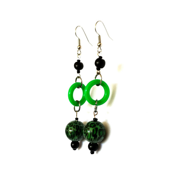 Earrings - Bold Dangle Earrings in Green and Black | MysticTrinketShop.com - Earrings - 2