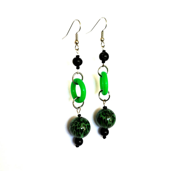 Earrings - Bold Dangle Earrings in Green and Black | MysticTrinketShop.com - Earrings - 3