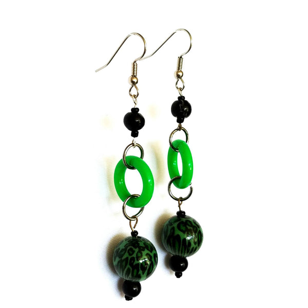 Earrings - Bold Dangle Earrings in Green and Black | MysticTrinketShop.com - Earrings - 4