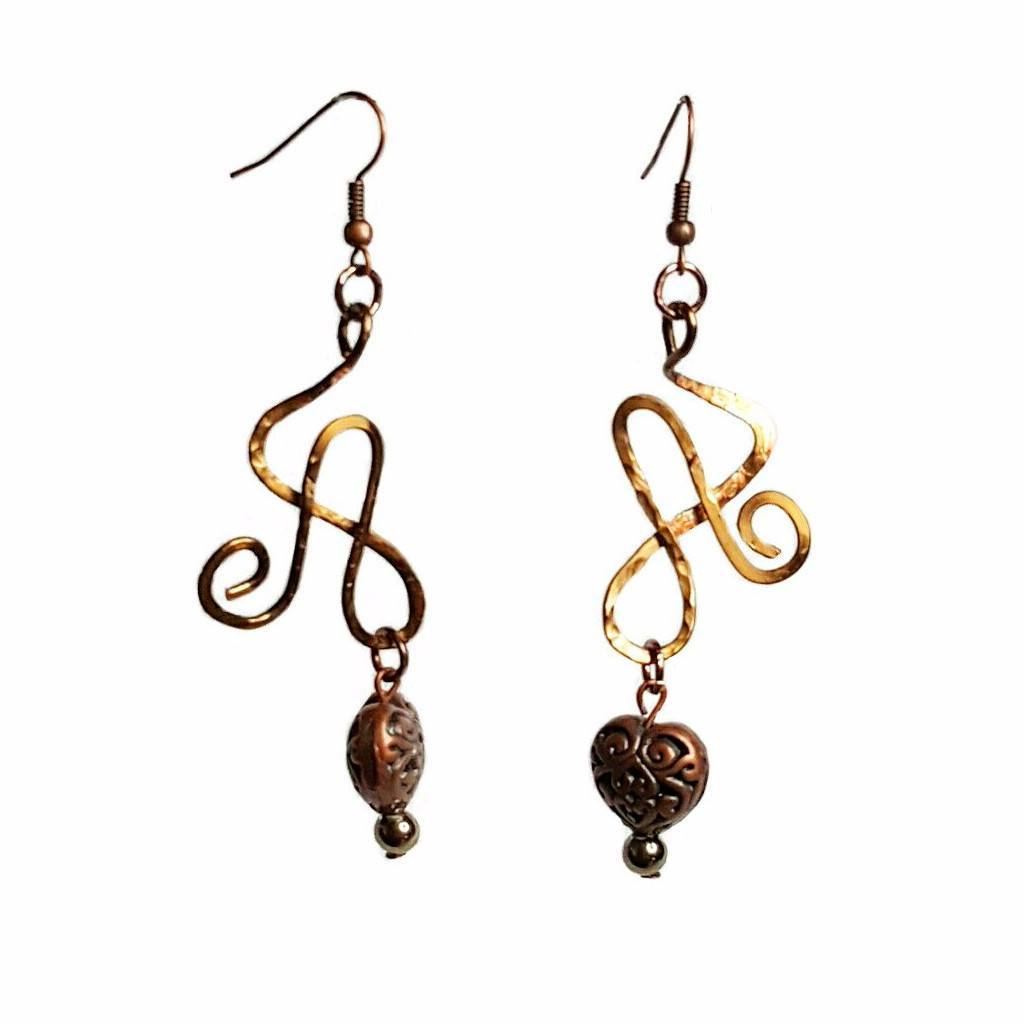 Earrings Brass Heart Wire Athena Earrings | MysticTrinketShop.com - Earrings - 1