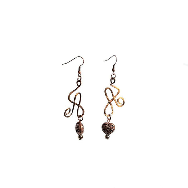 Earrings Brass Heart Wire Athena Earrings | MysticTrinketShop.com - Earrings - 2