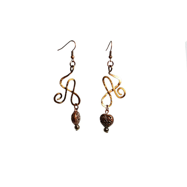 Earrings Brass Heart Wire Athena Earrings | MysticTrinketShop.com - Earrings - 3