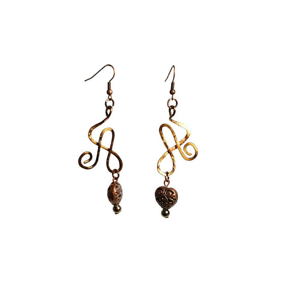Earrings Brass Heart Wire Athena Earrings | MysticTrinketShop.com - Earrings - 4
