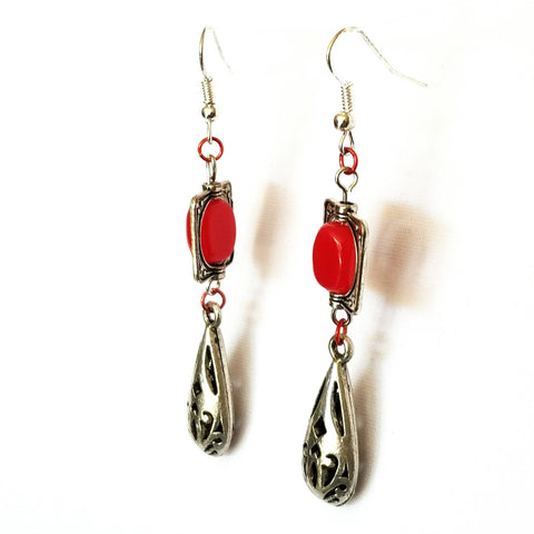 Earrings - Earrings - Classic Red And Silver Drop Earrings | MysticTrinketShop.com