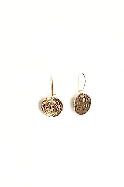 Earrings - Delicate Floral Texture Antiqued Earrings | MysticTrinketShop.com - Earrings - 1