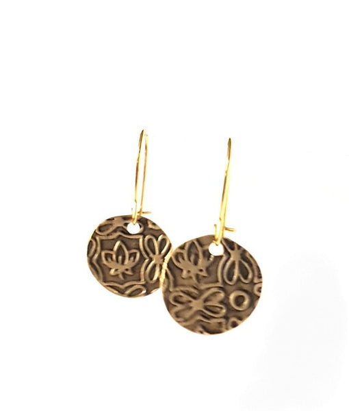 Earrings - Delicate Floral Texture Antiqued Earrings | MysticTrinketShop.com - Earrings - 2