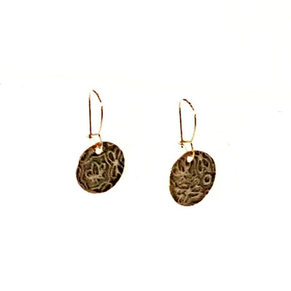 Earrings - Delicate Floral Texture Antiqued Earrings | MysticTrinketShop.com - Earrings - 4