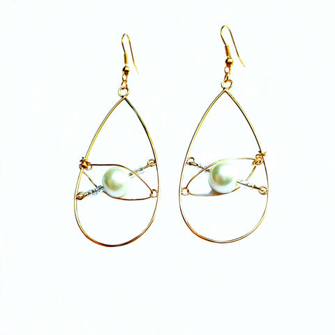 Earrings - Gold and Pearl Teardrop Earrings | MysticTrinketShop.com - Earrings - 1