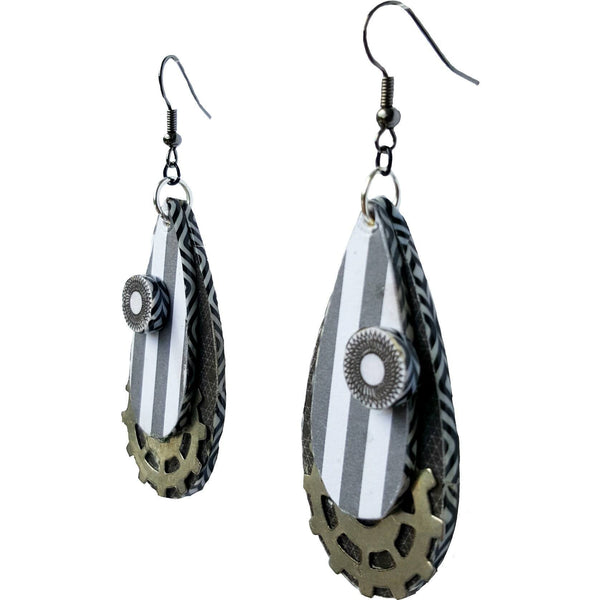 Earrings - Steampunk Stripe Earrings - Earrings - 1
