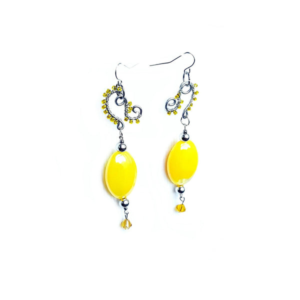 Earrings Handcrafted Yellow Beaded - Earrings - 1