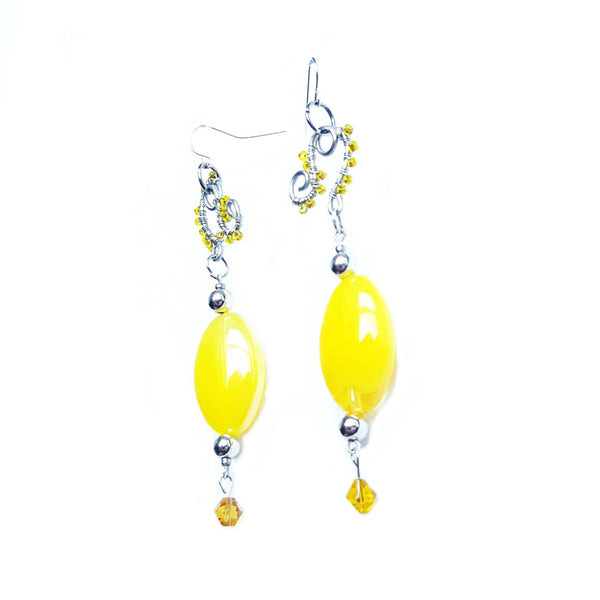 Earrings Handcrafted Yellow Beaded - Earrings - 2