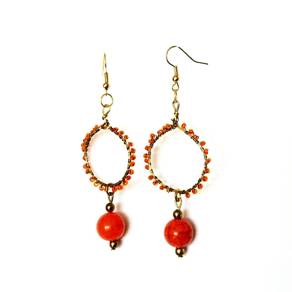 Earrings- Orange Hoop - Earrings - 1