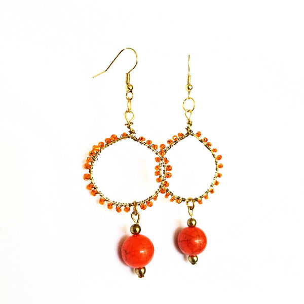 Earrings- Orange Hoop - Earrings - 2
