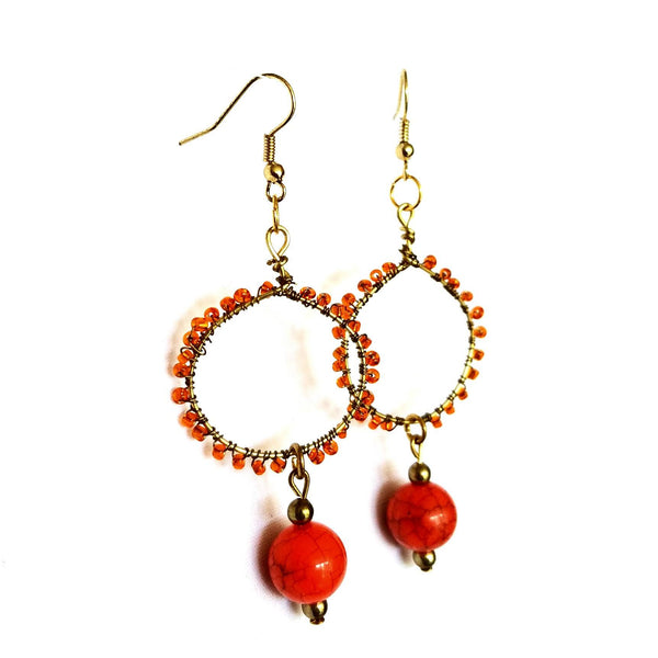 Earrings- Orange Hoop - Earrings - 3
