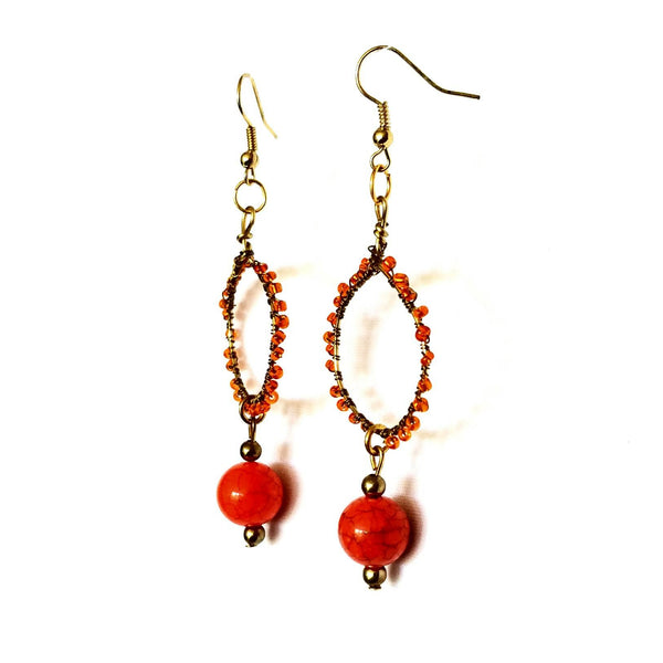 Earrings- Orange Hoop - Earrings - 4