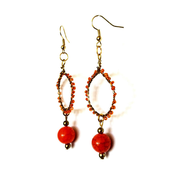 Earrings- Orange Hoop - Earrings - 5